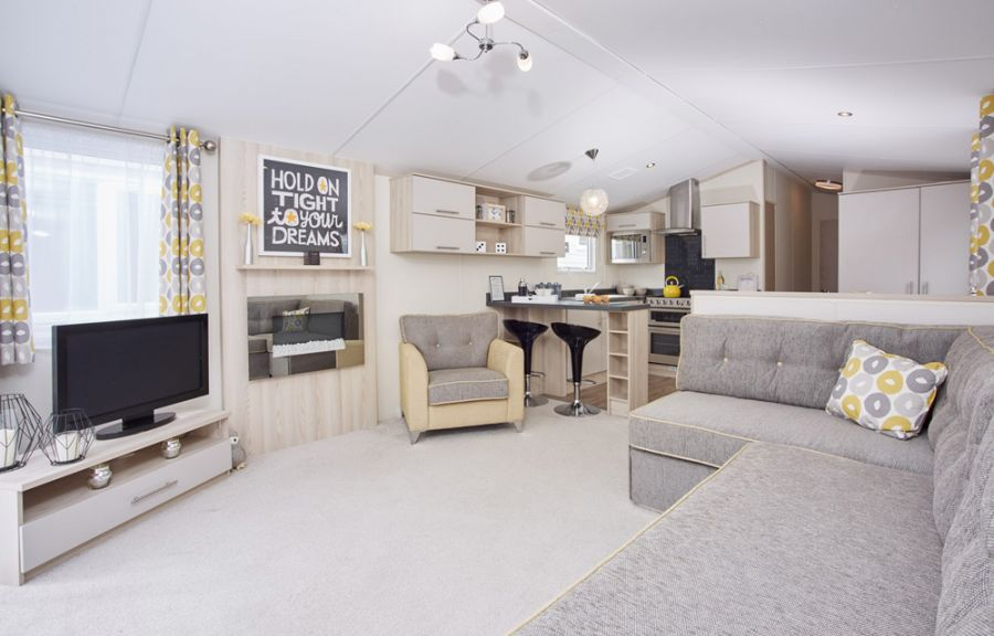 Image of Luxury top of the range Atlas caravan holiday home for sale. Brand new model. No site fees to pay until Jan 2021.